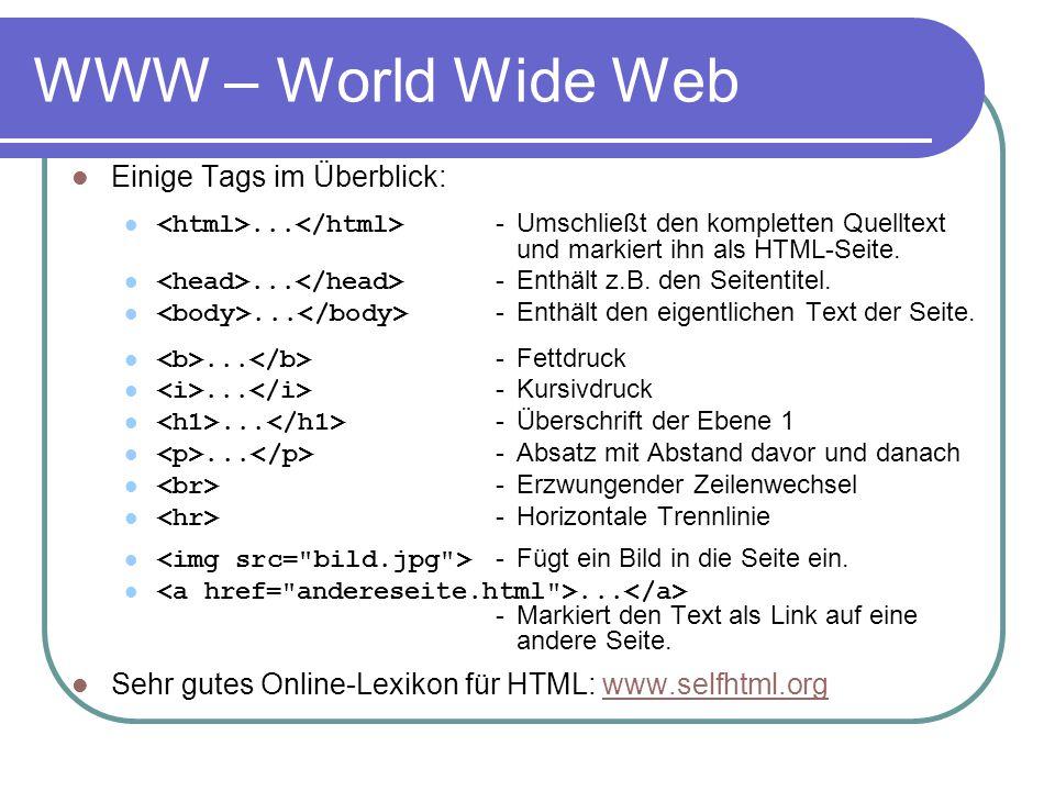 WWW – World Wide Web Einige Tags im Überblick: