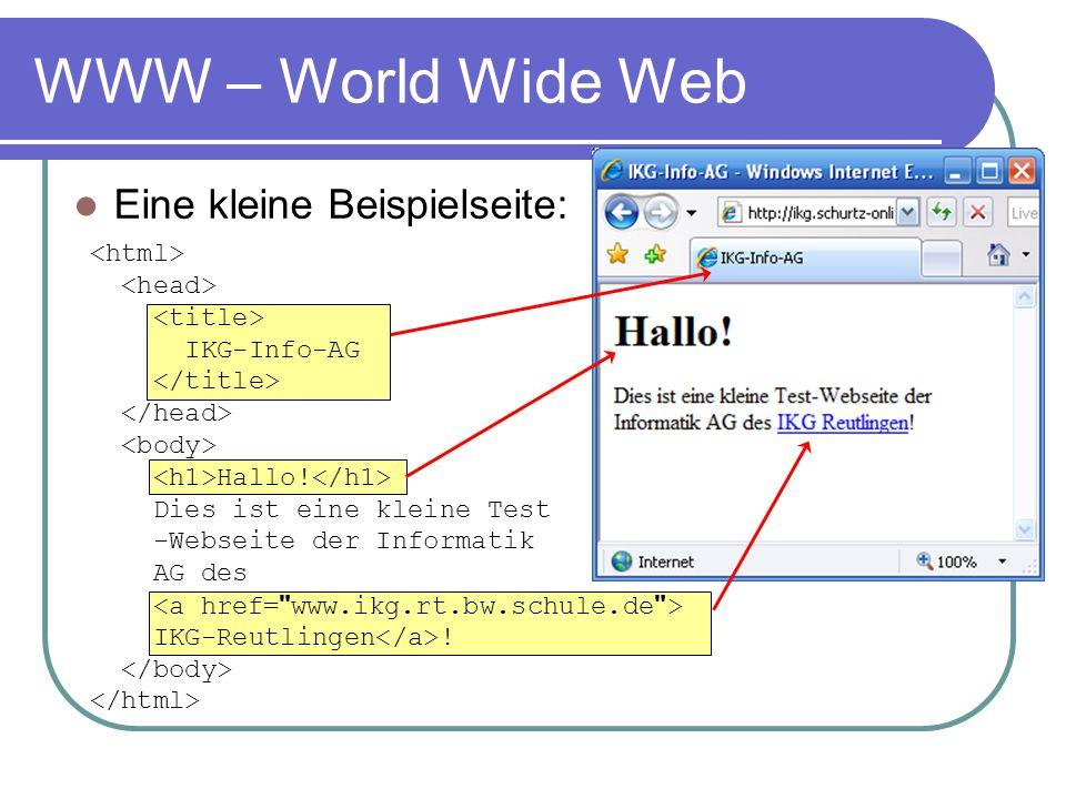 WWW – World Wide Web Eine kleine Beispielseite: <html>