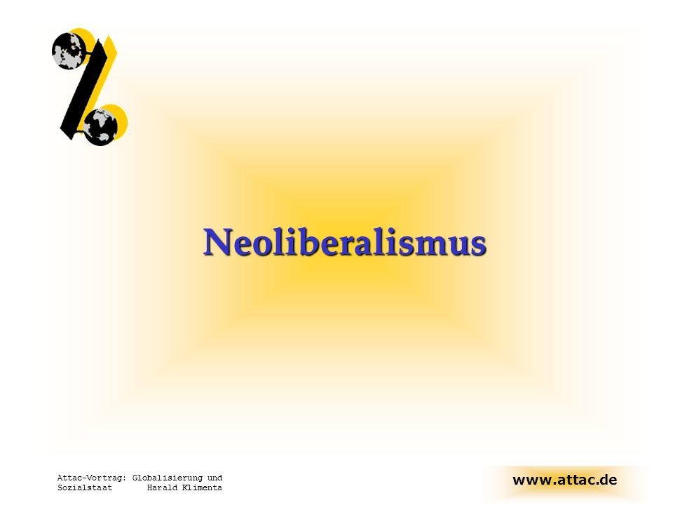 Neoliberalismus Attac-Vortrag: Globalisierung und Sozialstaat Harald Klimenta