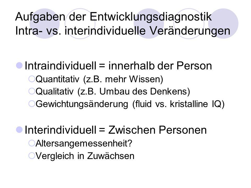 Aufgaben der Entwicklungsdiagnostik Intra- vs