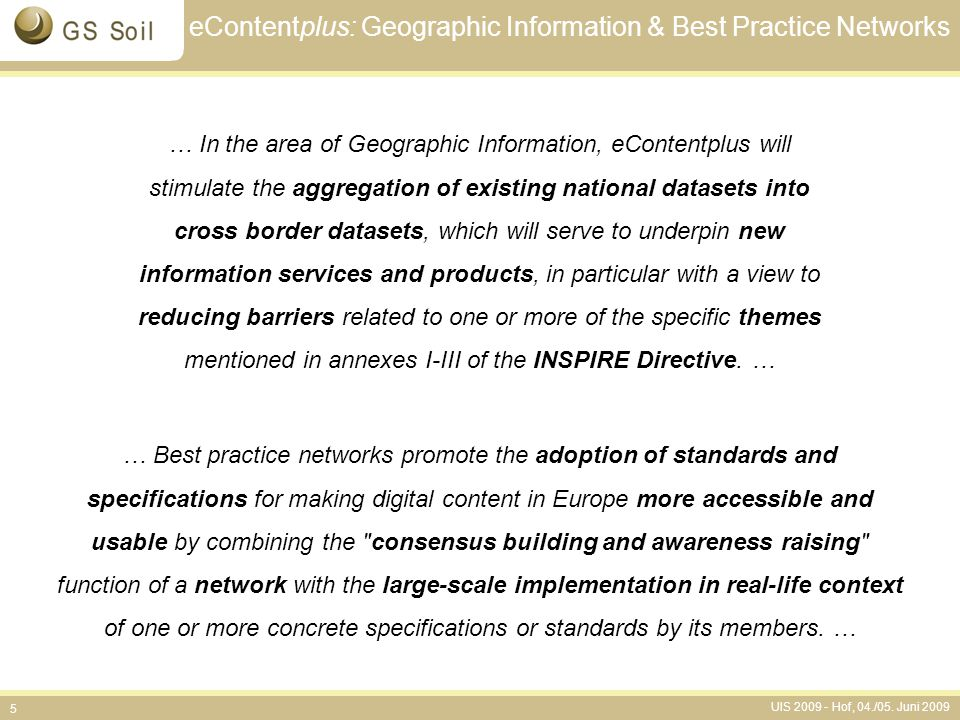 eContentplus: Geographic Information & Best Practice Networks