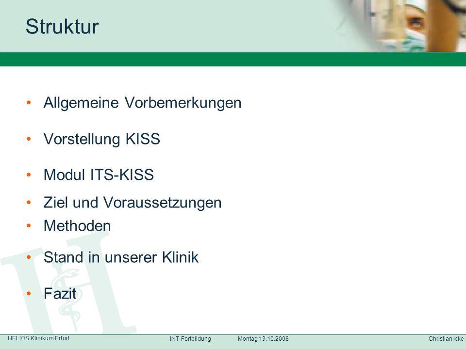 Struktur Allgemeine Vorbemerkungen Vorstellung KISS Modul ITS-KISS