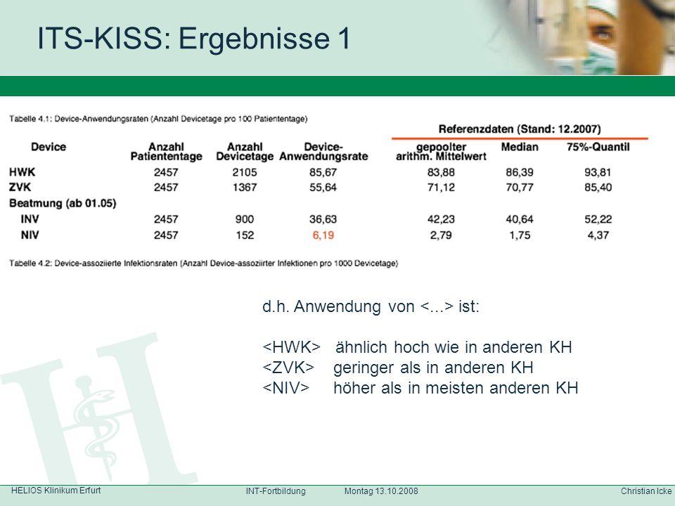 ITS-KISS: Ergebnisse 1 d.h. Anwendung von <...> ist: