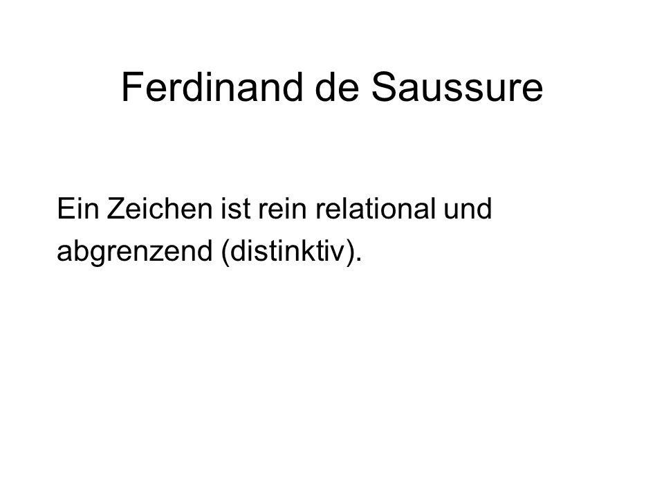 Ferdinand de Saussure Ein Zeichen ist rein relational und