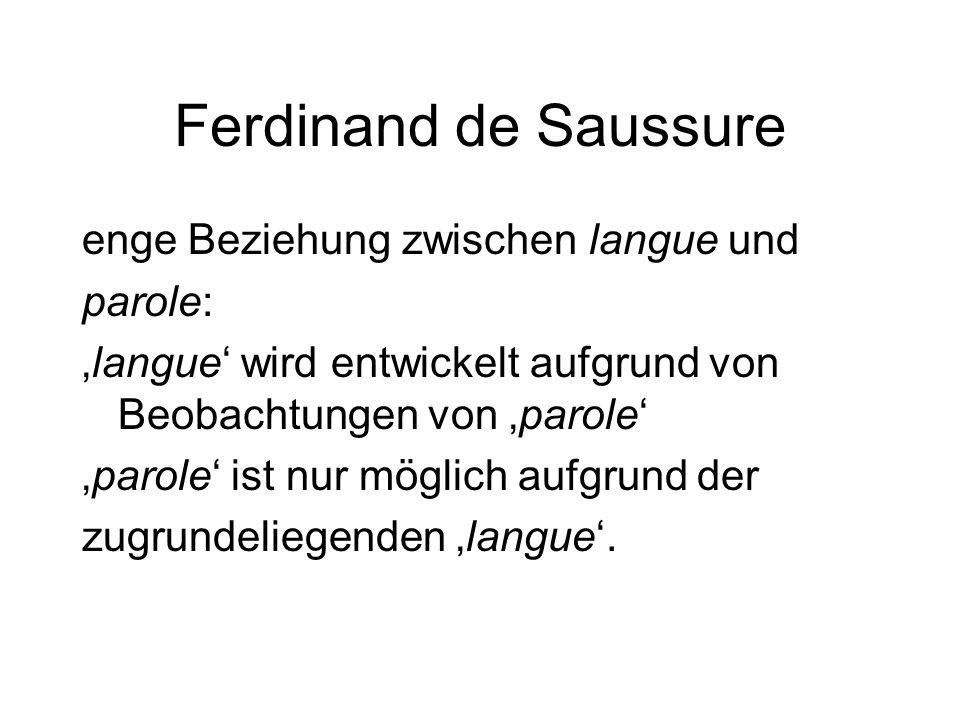 Ferdinand de Saussure enge Beziehung zwischen langue und parole: