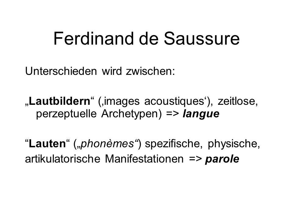 Ferdinand de Saussure Unterschieden wird zwischen: