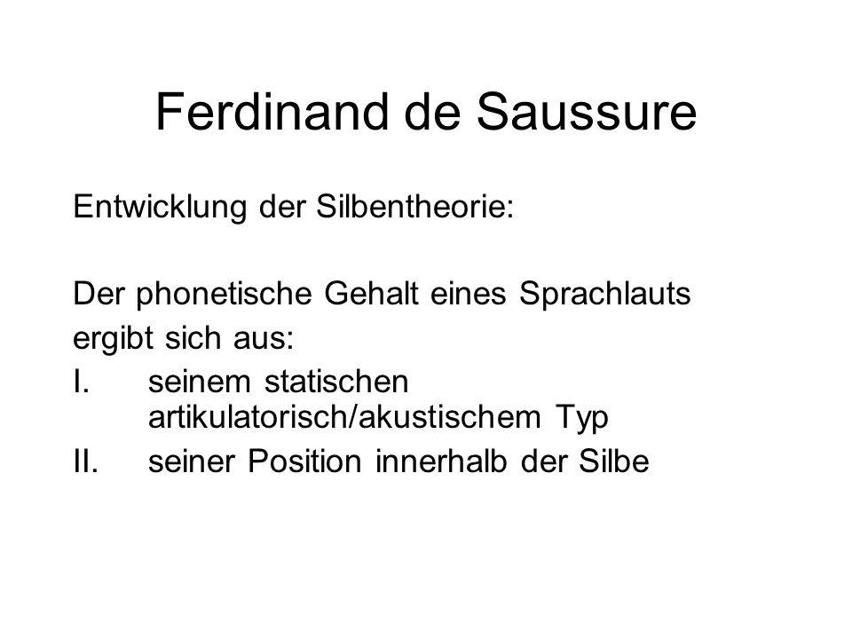 Ferdinand de Saussure Entwicklung der Silbentheorie: