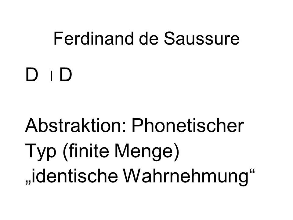 """Abstraktion: Phonetischer Typ (finite Menge) """"identische Wahrnehmung"""