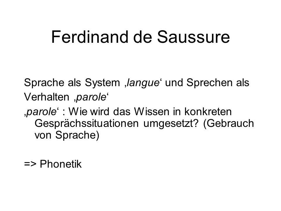 Ferdinand de Saussure Sprache als System 'langue' und Sprechen als