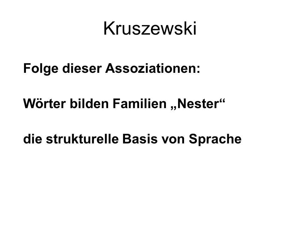 """Kruszewski Folge dieser Assoziationen: Wörter bilden Familien """"Nester"""