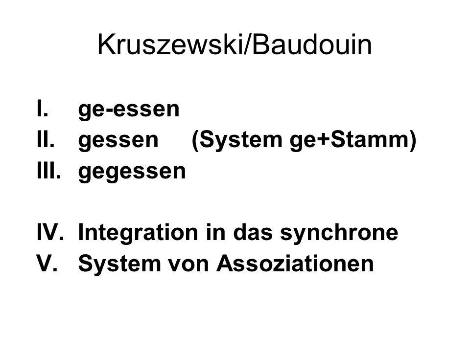 Kruszewski/Baudouin ge-essen gessen (System ge+Stamm) gegessen