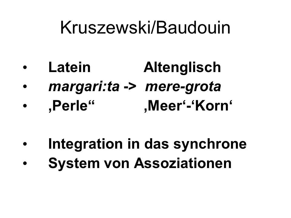 Kruszewski/Baudouin Latein Altenglisch margari:ta -> mere-grota