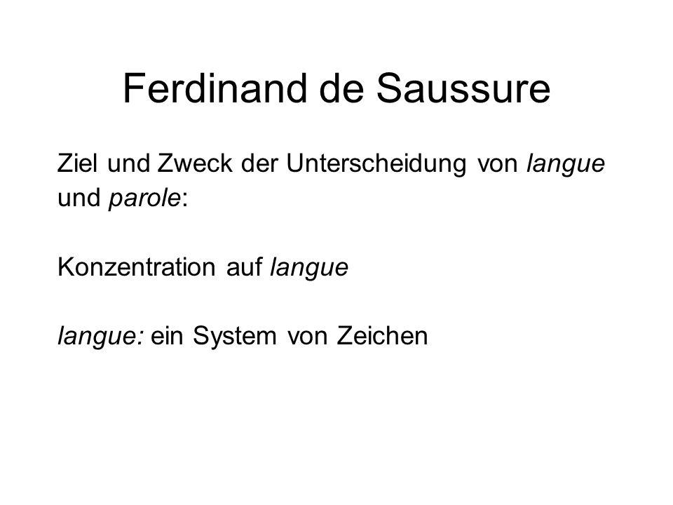 Ferdinand de Saussure Ziel und Zweck der Unterscheidung von langue