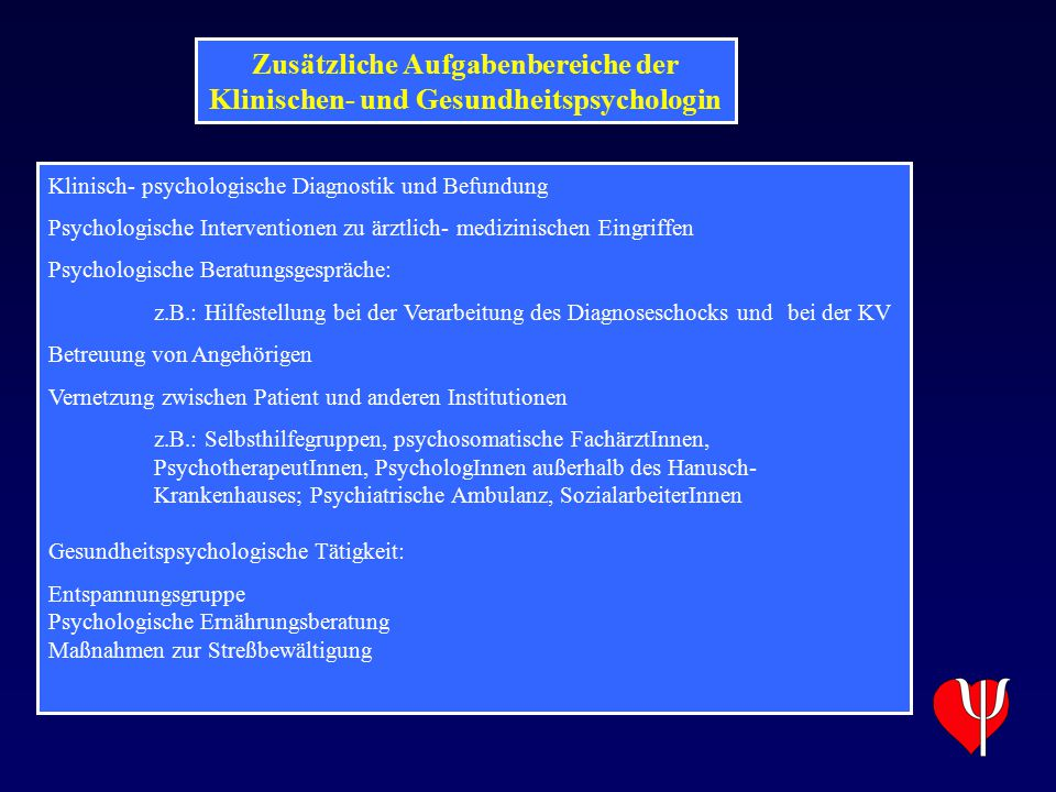 Zusätzliche Aufgabenbereiche der Klinischen- und Gesundheitspsychologin