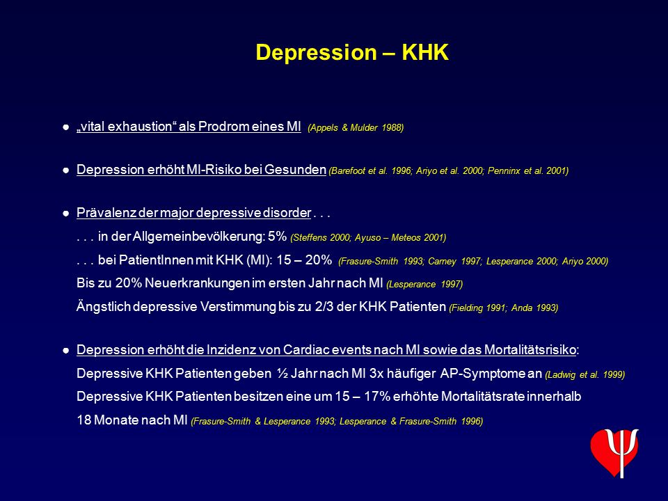 "Depression – KHK ""vital exhaustion als Prodrom eines MI (Appels & Mulder 1988)"