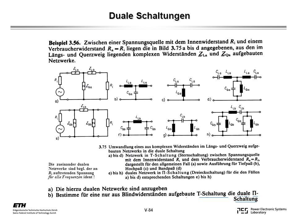 Duale Schaltungen Die zueinander dualen Netzwerke sind bzgl. der an Ri auftretenden Spannung für alle Frequenzen ident !