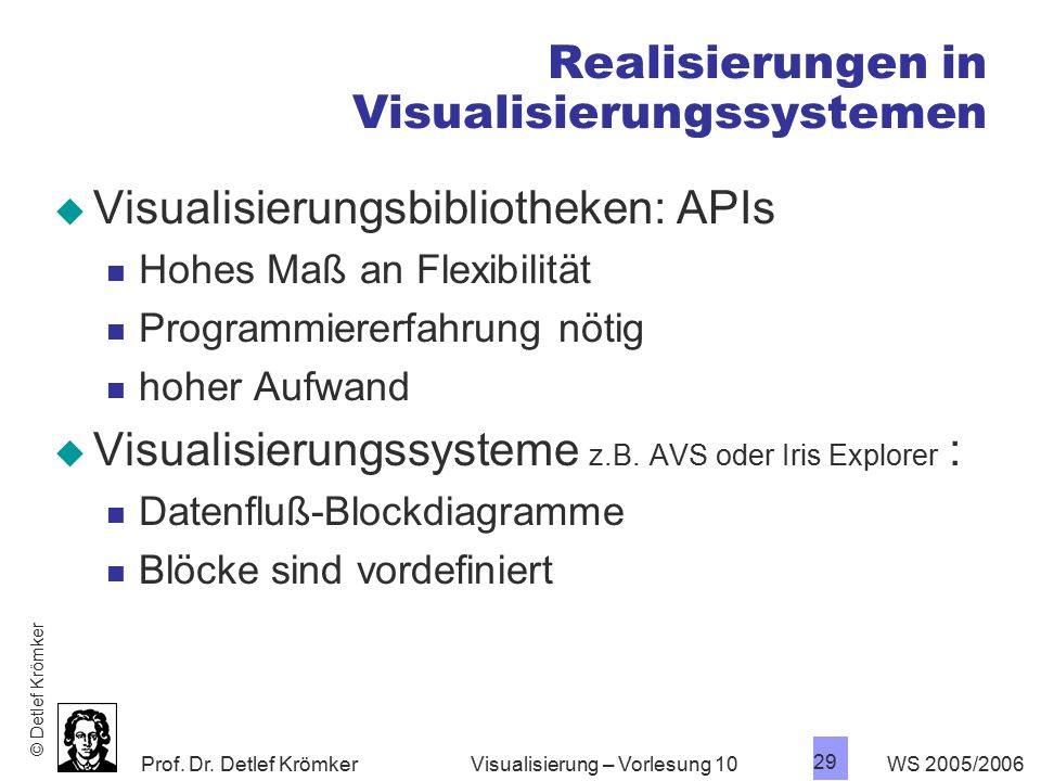 Realisierungen in Visualisierungssystemen