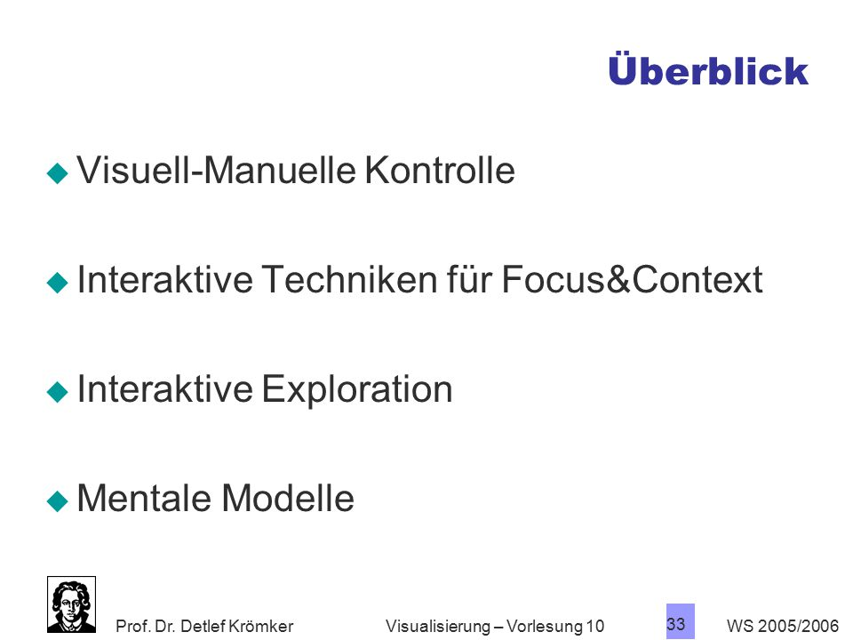 Visuell-Manuelle Kontrolle Interaktive Techniken für Focus&Context