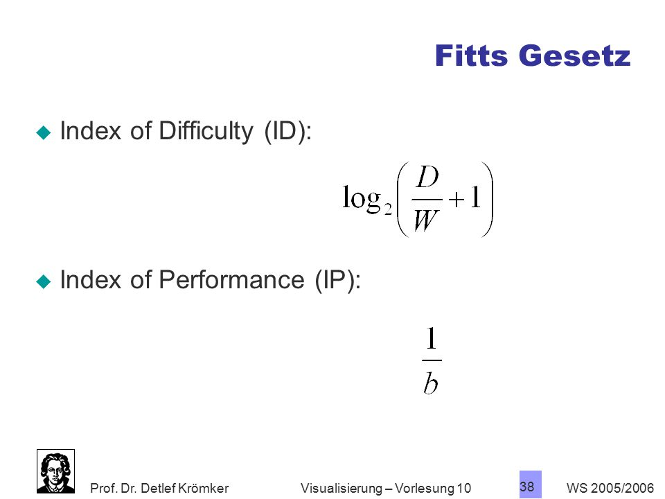 Fitts Gesetz Index of Difficulty (ID): Index of Performance (IP):