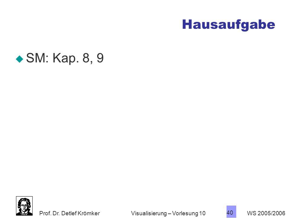Hausaufgabe SM: Kap. 8, 9 Visualisierung – Vorlesung 10 WS 2005/2006