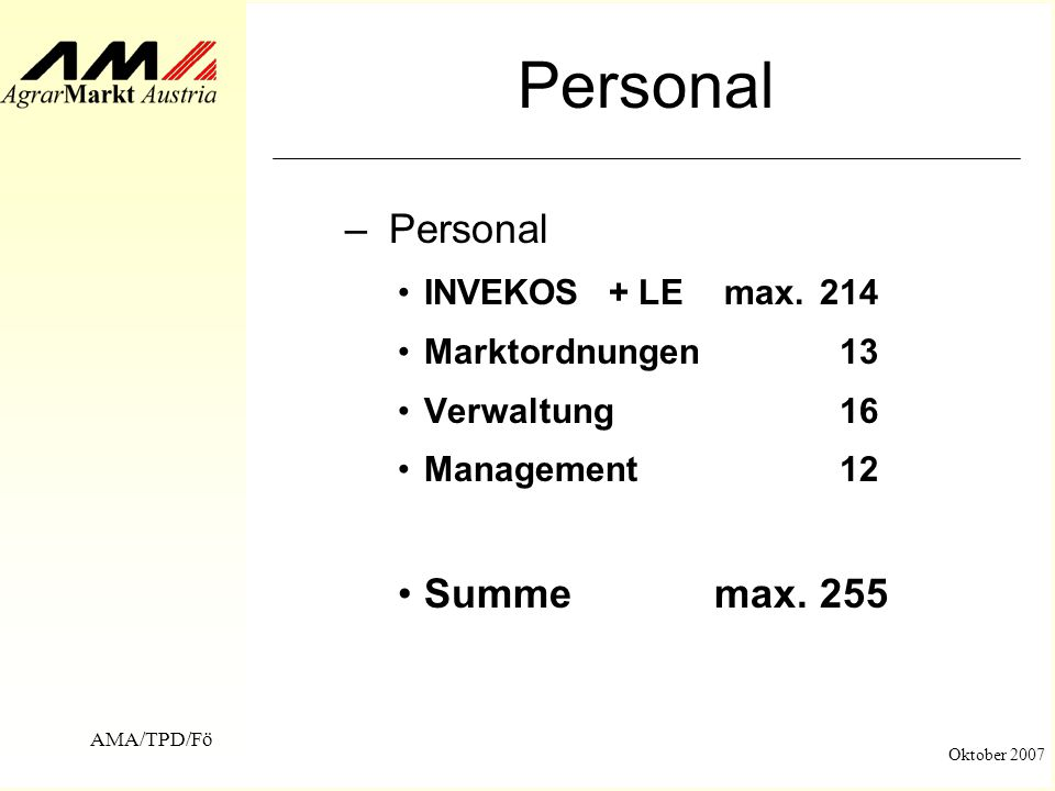 Personal Personal Summe max. 255 INVEKOS + LE max. 214