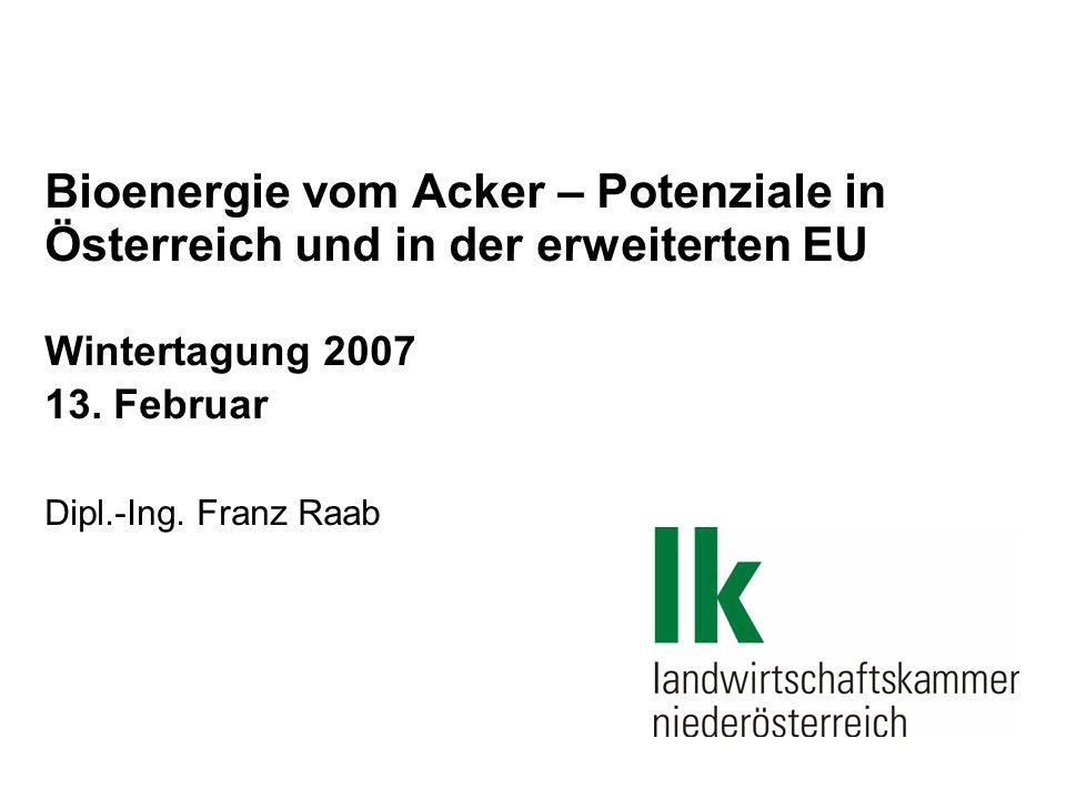 Bioenergie vom Acker – Potenziale in Österreich und in der erweiterten EU Wintertagung 2007 13.