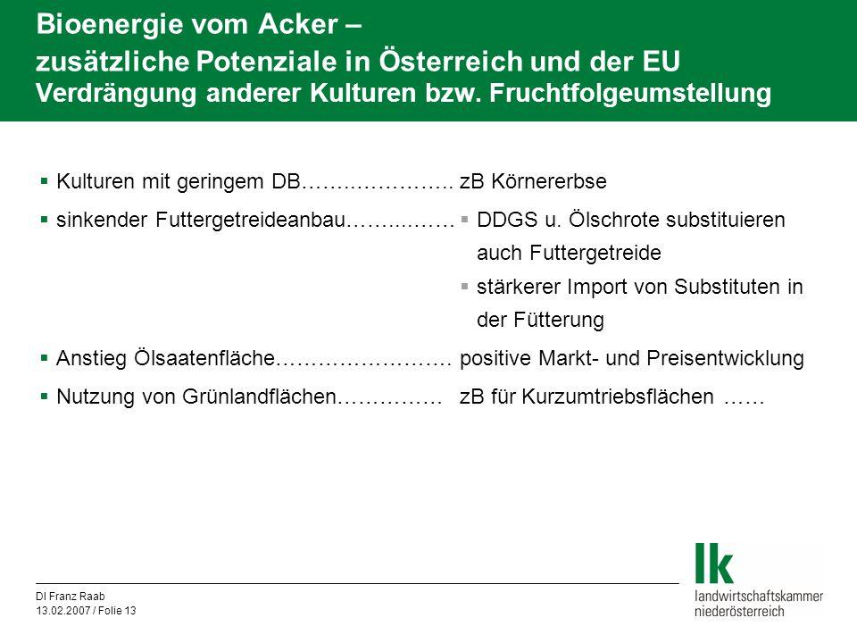 Bioenergie vom Acker – zusätzliche Potenziale in Österreich und der EU Verdrängung anderer Kulturen bzw. Fruchtfolgeumstellung