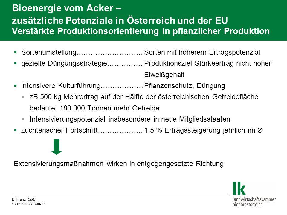 Bioenergie vom Acker – zusätzliche Potenziale in Österreich und der EU Verstärkte Produktionsorientierung in pflanzlicher Produktion