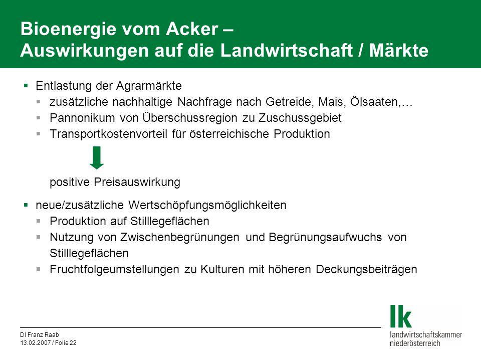 Bioenergie vom Acker – Auswirkungen auf die Landwirtschaft / Märkte