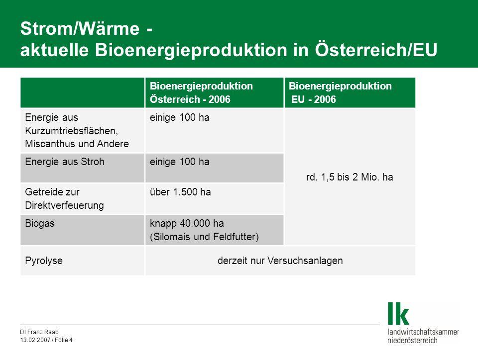 Strom/Wärme - aktuelle Bioenergieproduktion in Österreich/EU