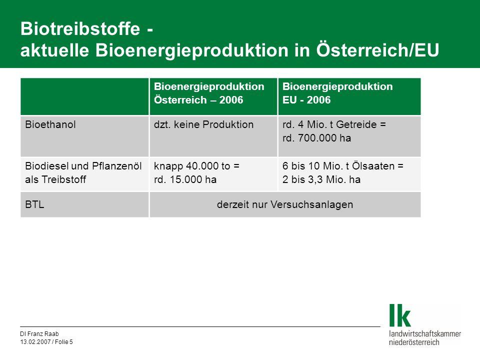 Biotreibstoffe - aktuelle Bioenergieproduktion in Österreich/EU