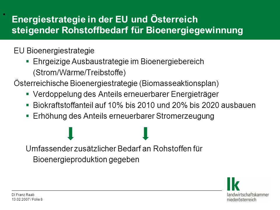 Energiestrategie in der EU und Österreich steigender Rohstoffbedarf für Bioenergiegewinnung