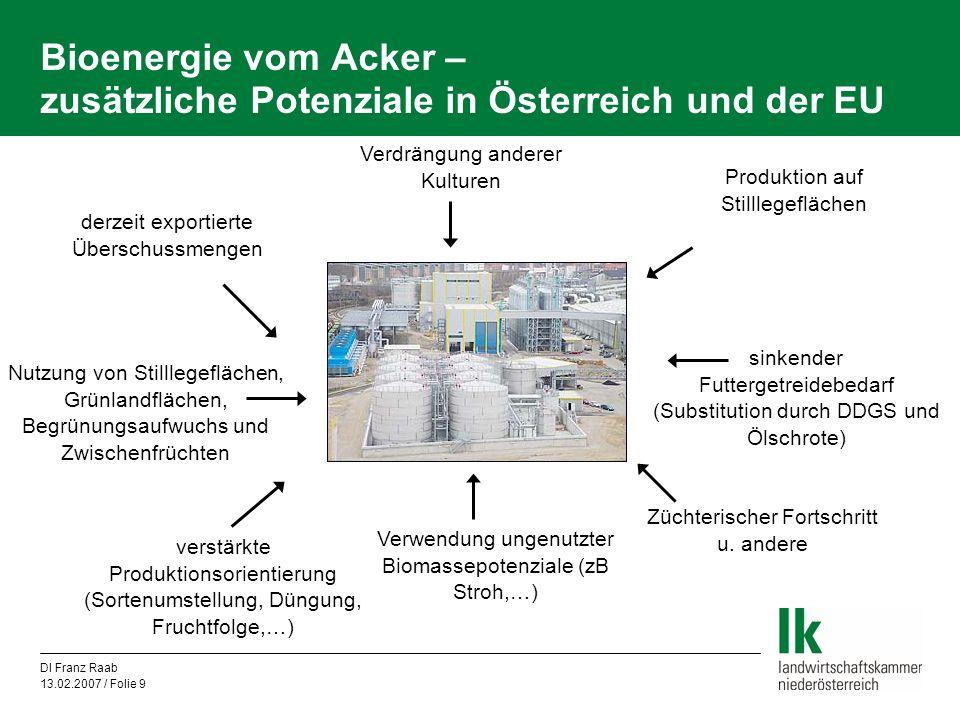 Bioenergie vom Acker – zusätzliche Potenziale in Österreich und der EU