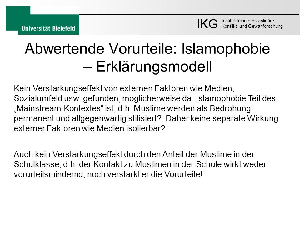 Abwertende Vorurteile: Islamophobie – Erklärungsmodell