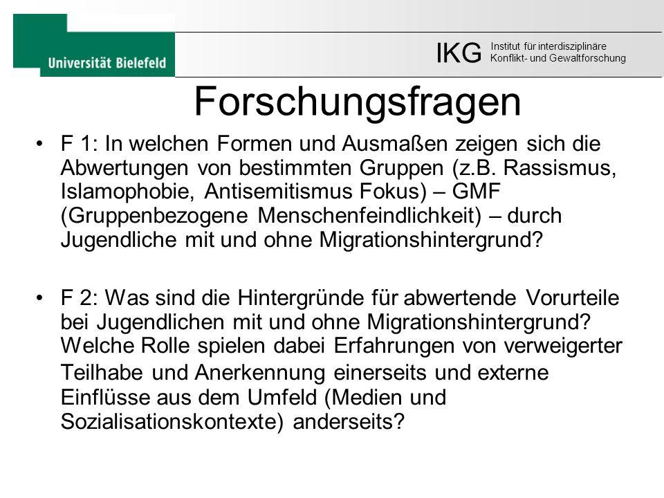 IKG Institut für interdisziplinäre. Konflikt- und Gewaltforschung. Forschungsfragen.