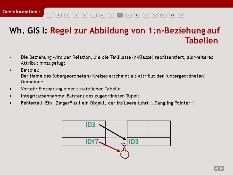 Wh. GIS I: Regel zur Abbildung von 1:n-Beziehung auf Tabellen