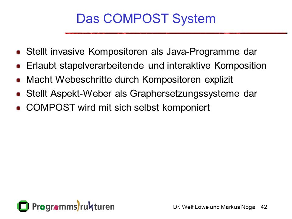 Das COMPOST System Click to add notes