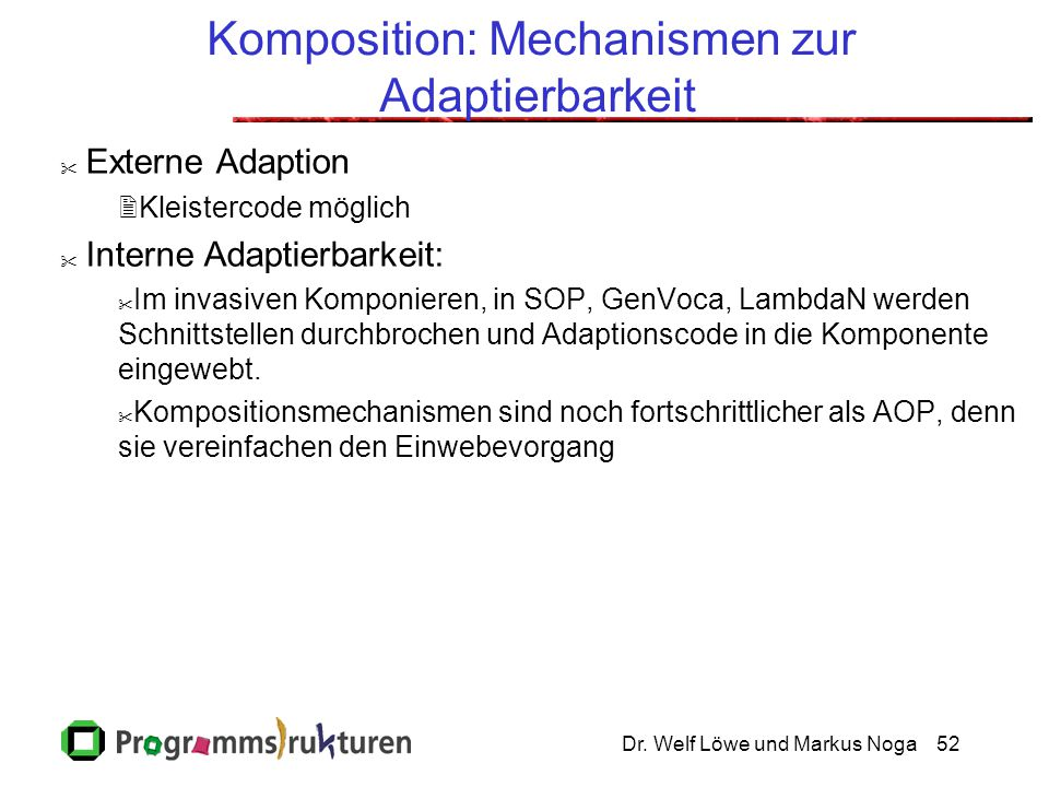 Komposition: Mechanismen zur Adaptierbarkeit