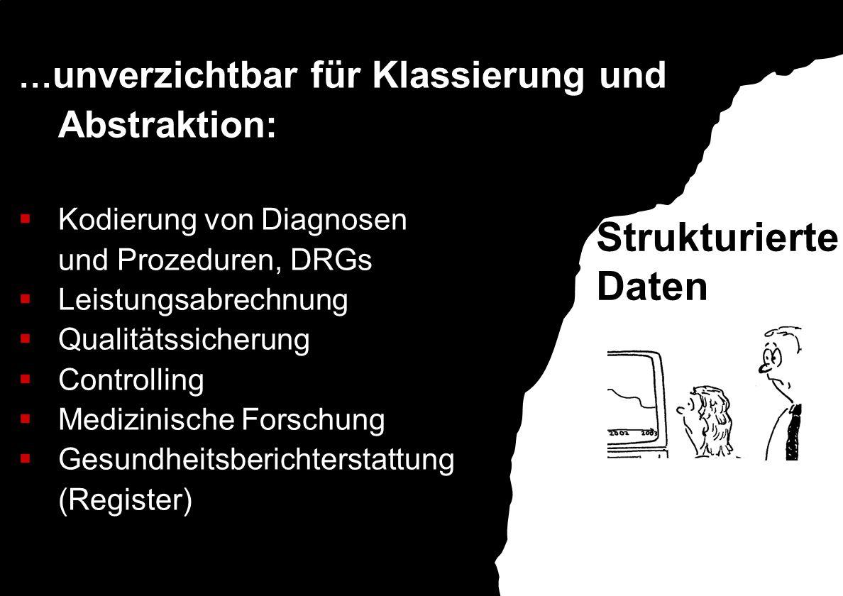 Strukturierte Daten …unverzichtbar für Klassierung und Abstraktion: