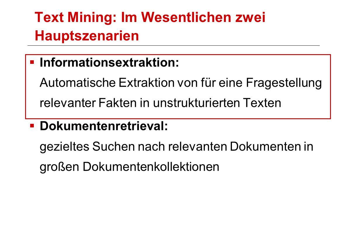 Text Mining: Im Wesentlichen zwei Hauptszenarien