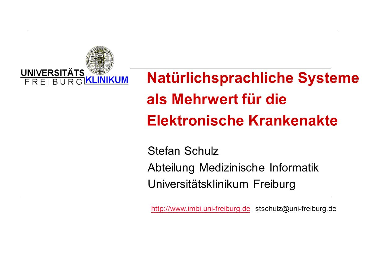Natürlichsprachliche Systeme als Mehrwert für die Elektronische Krankenakte
