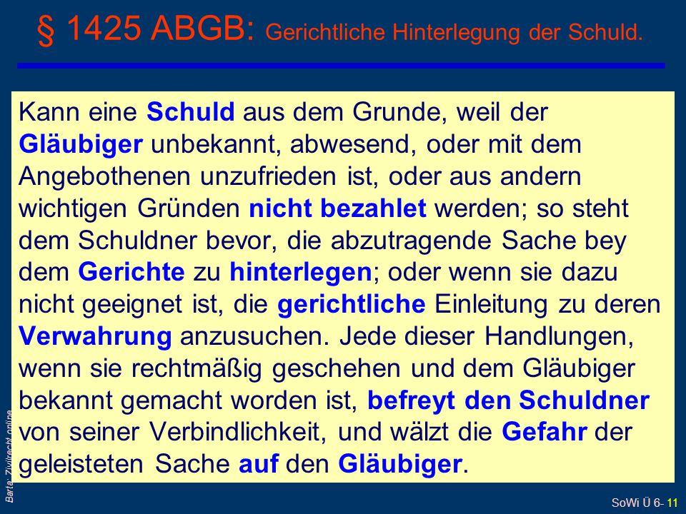 § 1425 ABGB: Gerichtliche Hinterlegung der Schuld.