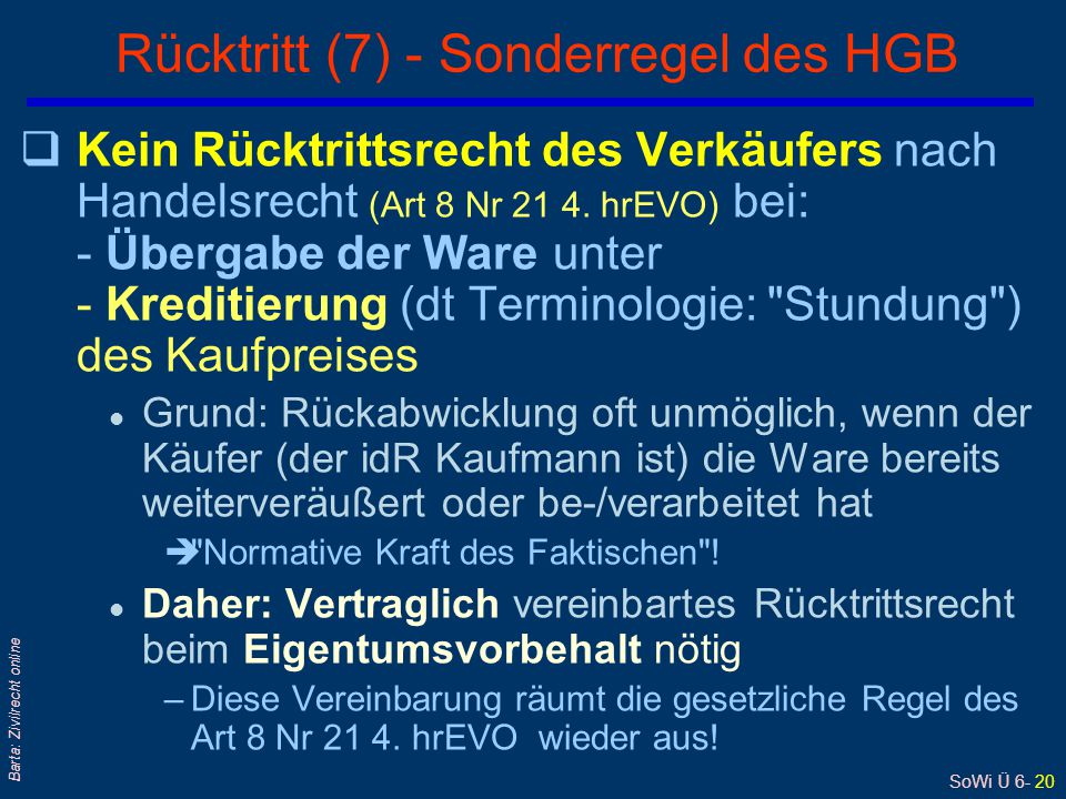 Rücktritt (7) - Sonderregel des HGB