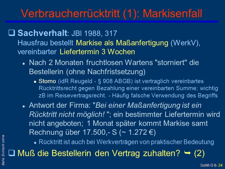 Verbraucherrücktritt (1): Markisenfall