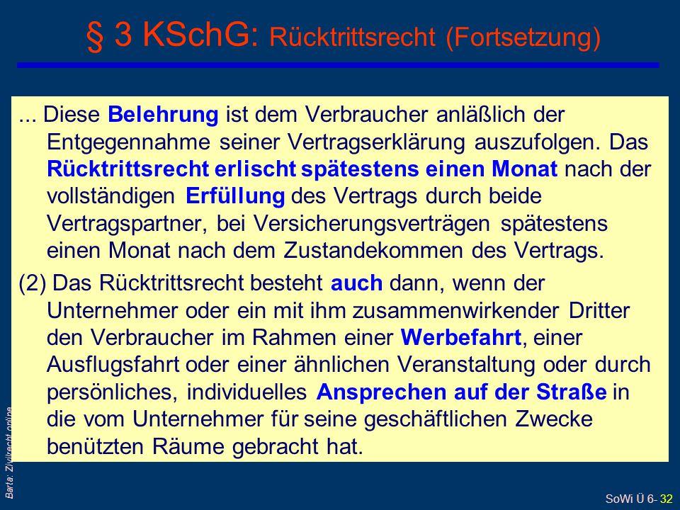 § 3 KSchG: Rücktrittsrecht (Fortsetzung)