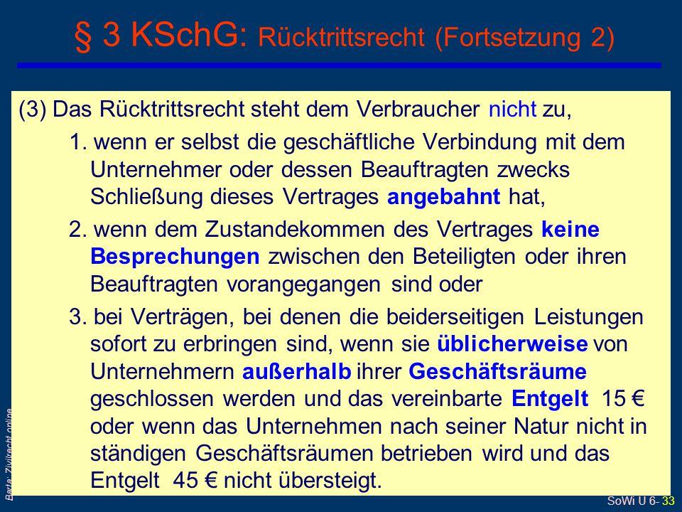 § 3 KSchG: Rücktrittsrecht (Fortsetzung 2)