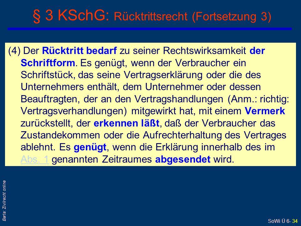 § 3 KSchG: Rücktrittsrecht (Fortsetzung 3)