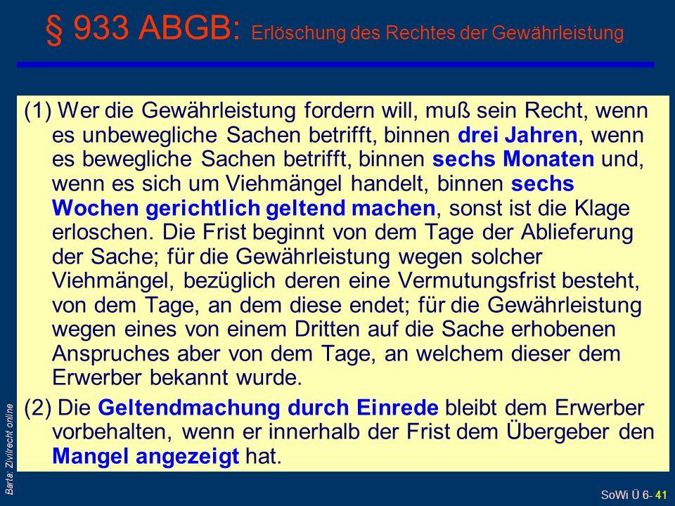 § 933 ABGB: Erlöschung des Rechtes der Gewährleistung