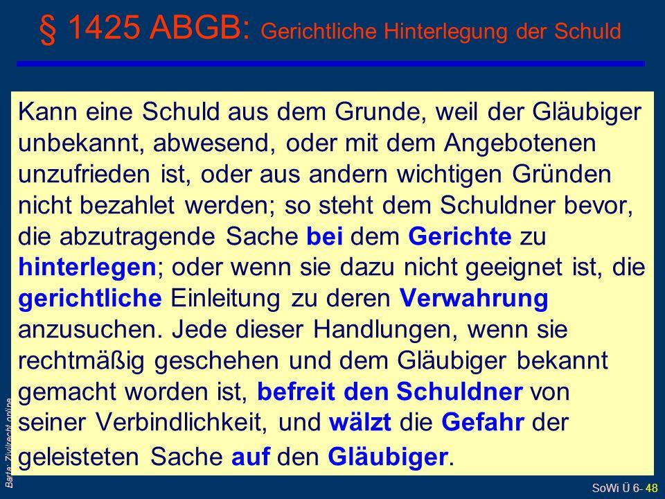 § 1425 ABGB: Gerichtliche Hinterlegung der Schuld
