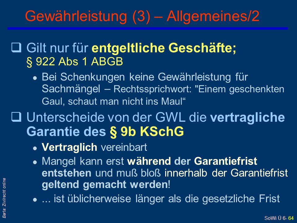 Gewährleistung (3) – Allgemeines/2